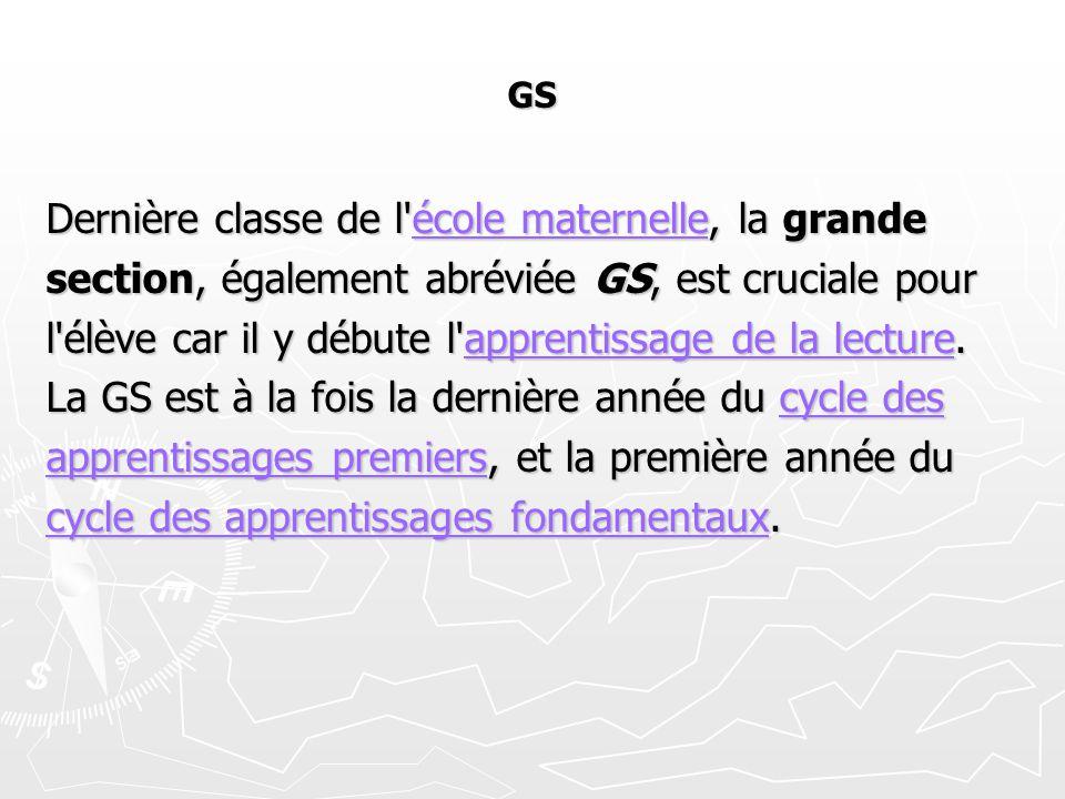 GS Dernière classe de l'école maternelle, la grande école maternelleécole maternelle section, également abréviée GS, est cruciale pour l'élève car il