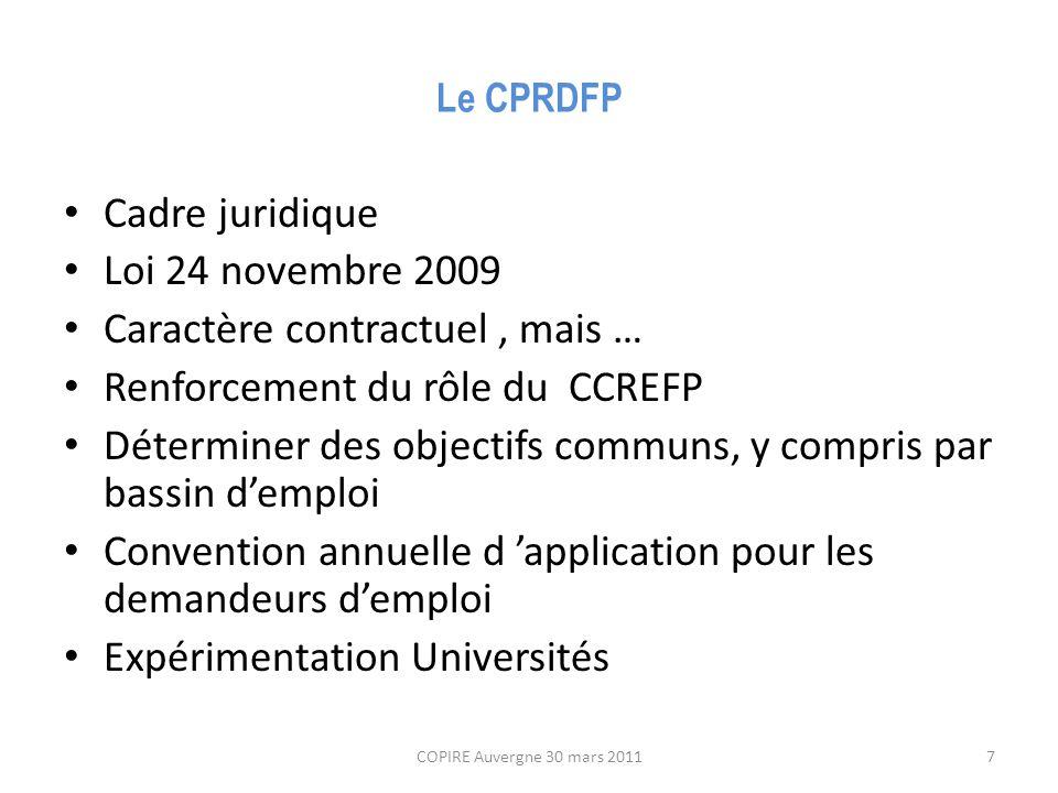 Le CPRDFP Cadre juridique Loi 24 novembre 2009 Caractère contractuel, mais … Renforcement du rôle du CCREFP Déterminer des objectifs communs, y compris par bassin d'emploi Convention annuelle d 'application pour les demandeurs d'emploi Expérimentation Universités COPIRE Auvergne 30 mars 20117