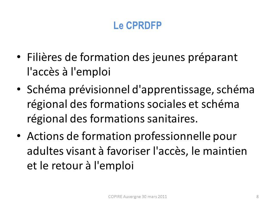 Le CPRDFP Filières de formation des jeunes préparant l accès à l emploi Schéma prévisionnel d apprentissage, schéma régional des formations sociales et schéma régional des formations sanitaires.