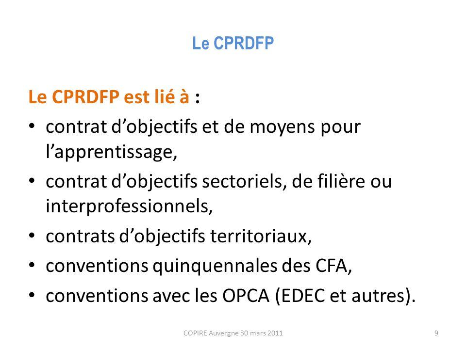 Le CPRDFP Le CPRDFP est lié à : contrat d'objectifs et de moyens pour l'apprentissage, contrat d'objectifs sectoriels, de filière ou interprofessionnels, contrats d'objectifs territoriaux, conventions quinquennales des CFA, conventions avec les OPCA (EDEC et autres).