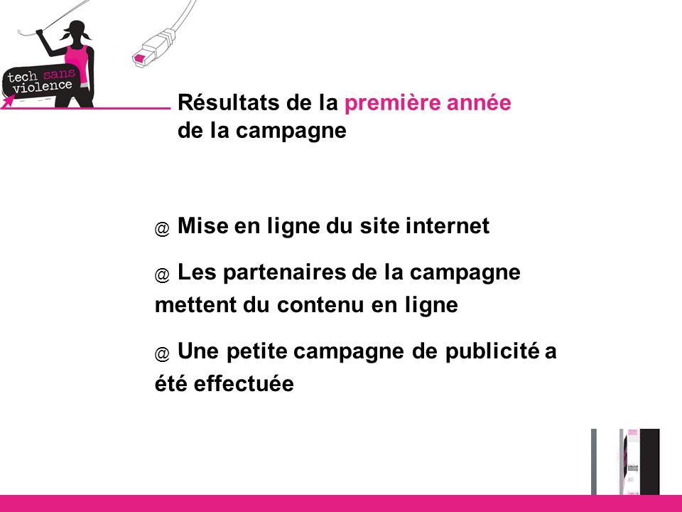 Résultats de la première année de la campagne @ Mise en ligne du site internet @ Les partenaires de la campagne mettent du contenu en ligne @ Une petite campagne de publicité a été effectuée