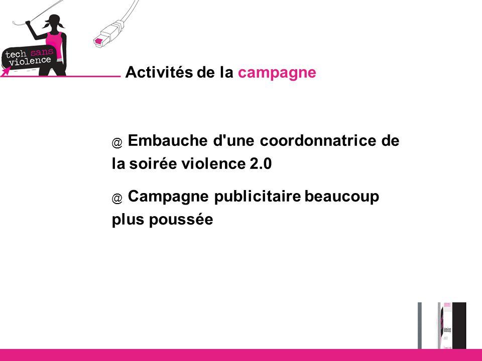 Activités de la campagne @ Embauche d une coordonnatrice de la soirée violence 2.0 @ Campagne publicitaire beaucoup plus poussée