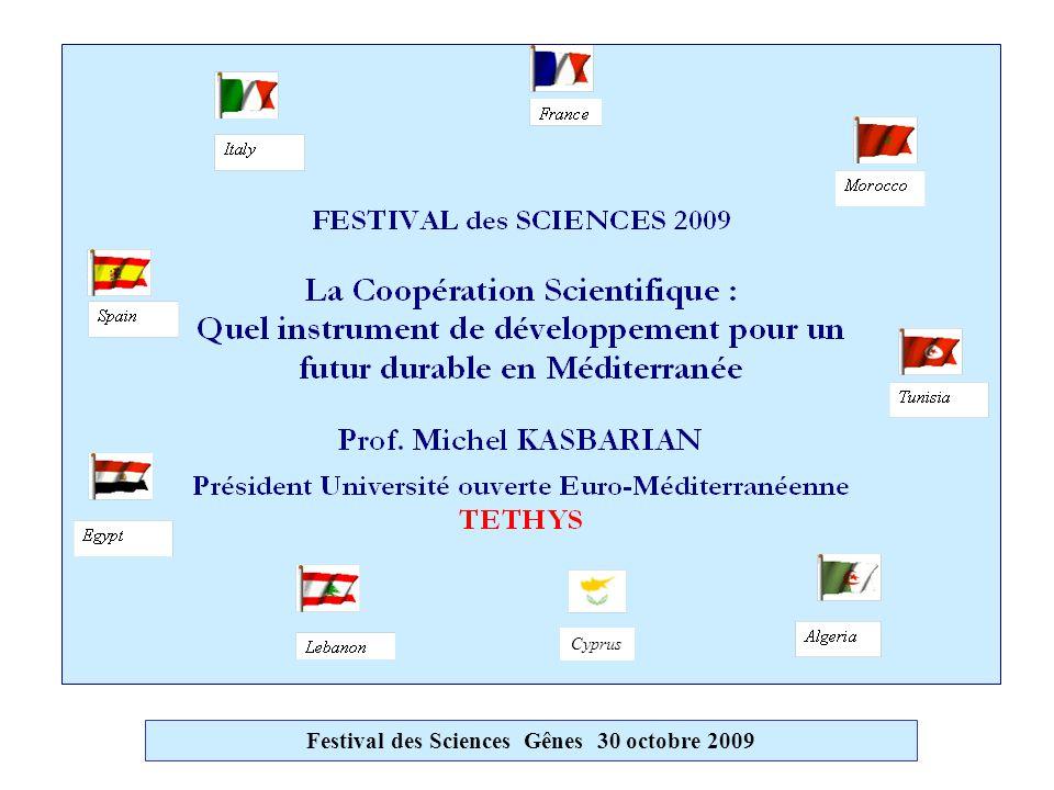 Les UNIVERSITES PARTENAIRES (suite)  Maroc :(6)Chouaib Doukkali El Jadida - Marrakech HassanII/Mohammedia-Casablanca - Mohammed I/Oujda- Mohammed V/Rabat - Abdelmalek Essaâdi Tanger/Tétouan  Tunisie :(6)7 Novembre Carthage - Kairouan - Monastir - Sfax - Sousse - Tunis El Manar A l'Est :  Egypte :(5)Alexandrie - Assiut - Helwan - Le Caire MUST 6th October city  Liban:(2)Balamand Tripoli - Saint-Joseph Beyrouth Festival des Sciences Gênes 30 octobre 2009