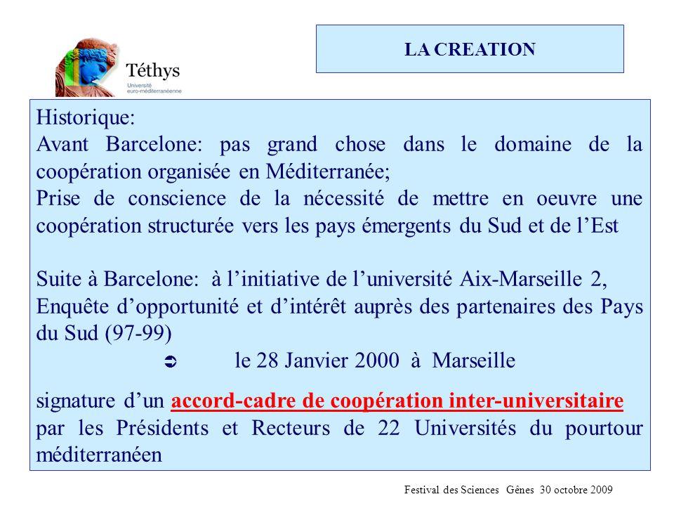 Historique: Avant Barcelone: pas grand chose dans le domaine de la coopération organisée en Méditerranée; Prise de conscience de la nécessité de mettre en oeuvre une coopération structurée vers les pays émergents du Sud et de l'Est Suite à Barcelone: à l'initiative de l'université Aix-Marseille 2, Enquête d'opportunité et d'intérêt auprès des partenaires des Pays du Sud (97-99)  le 28 Janvier 2000 à Marseille signature d'un accord-cadre de coopération inter-universitaire par les Présidents et Recteurs de 22 Universités du pourtour méditerranéen Festival des Sciences Gênes 30 octobre 2009 LA CREATION