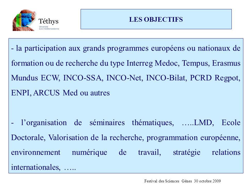 LES OBJECTIFS - la participation aux grands programmes européens ou nationaux de formation ou de recherche du type Interreg Medoc, Tempus, Erasmus Mundus ECW, INCO-SSA, INCO-Net, INCO-Bilat, PCRD Regpot, ENPI, ARCUS Med ou autres - l'organisation de séminaires thématiques, …..LMD, Ecole Doctorale, Valorisation de la recherche, programmation européenne, environnement numérique de travail, stratégie relations internationales, …..
