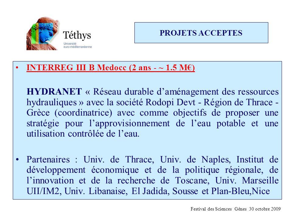 PROJETS ACCEPTES INTERREG III B Medocc (2 ans - ~ 1.5 M€) HYDRANET « Réseau durable d'aménagement des ressources hydrauliques » avec la société Rodopi Devt - Région de Thrace - Grèce (coordinatrice) avec comme objectifs de proposer une stratégie pour l'approvisionnement de l'eau potable et une utilisation contrôlée de l'eau.