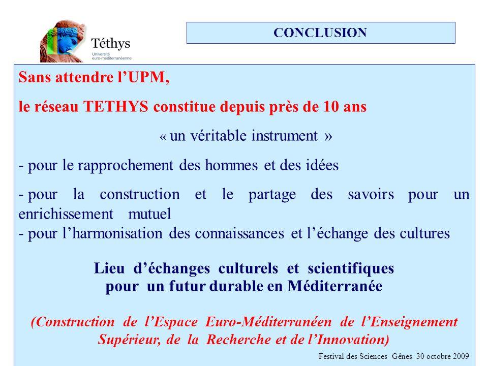 CONCLUSION Sans attendre l'UPM, le réseau TETHYS constitue depuis près de 10 ans « un véritable instrument » - pour le rapprochement des hommes et des