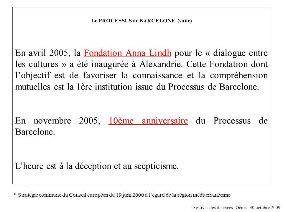Le PROCESSUS de BARCELONE (suite) En avril 2005, la Fondation Anna Lindh pour le « dialogue entre les cultures » a été inaugurée à Alexandrie. Cette F
