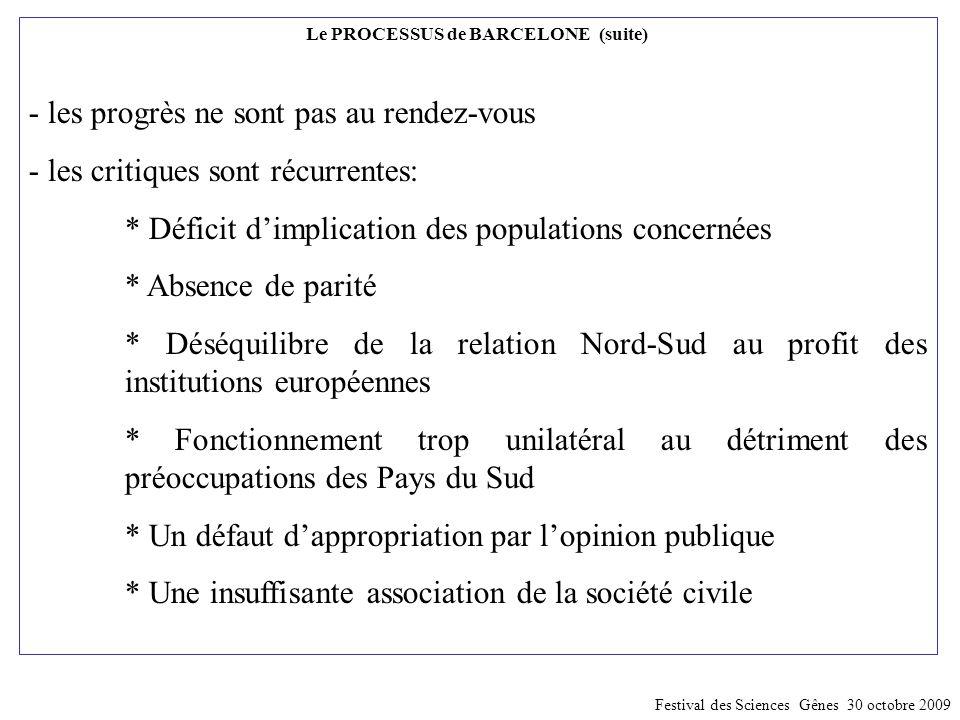 Le PROCESSUS de BARCELONE (suite) - les progrès ne sont pas au rendez-vous - les critiques sont récurrentes: * Déficit d'implication des populations c