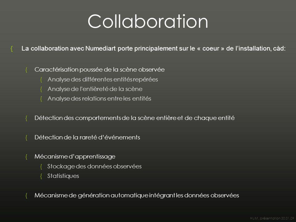HUM, présentation 30.01.09 Collaboration {La collaboration avec Numediart porte principalement sur le « coeur » de l'installation, càd: {Caractérisati