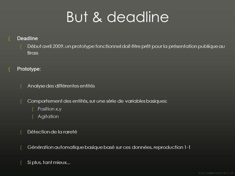 HUM, présentation 30.01.09 But & deadline {Deadline {Début avril 2009, un prototype fonctionnel doit être prêt pour la présentation publique au Brass