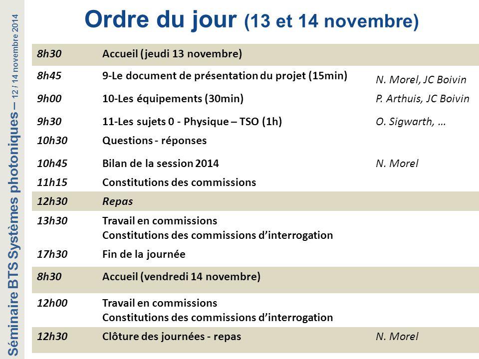 Séminaire BTS Systèmes photoniques – 12 / 14 novembre 2014 Ordre du jour (13 et 14 novembre) 8h30Accueil (jeudi 13 novembre) 8h459-Le document de prés