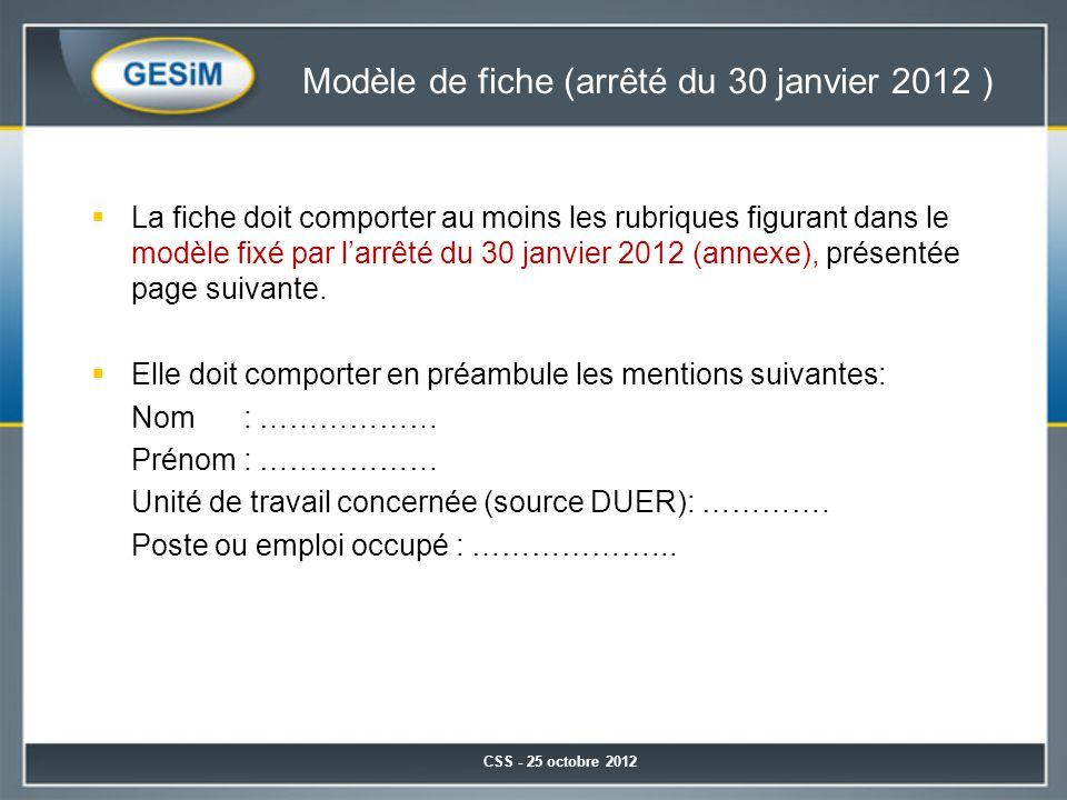 Modèle de fiche (arrêté du 30 janvier 2012 )  La fiche doit comporter au moins les rubriques figurant dans le modèle fixé par l'arrêté du 30 janvier