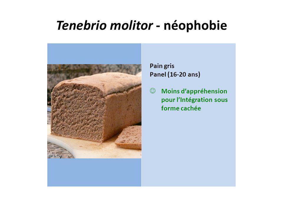 Tenebrio molitor - néophobie Pain gris Panel (16-20 ans) Moins d'appréhension pour l'Intégration sous forme cachée