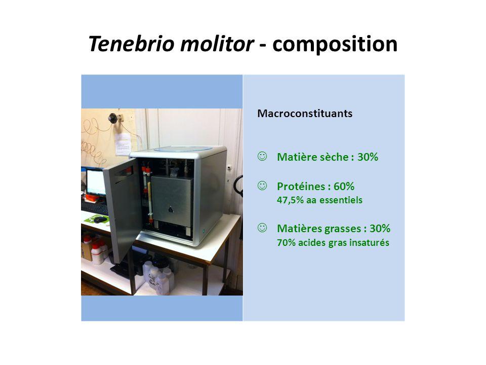 Tenebrio molitor - composition Macroconstituants Matière sèche : 30% Protéines : 60% 47,5% aa essentiels Matières grasses : 30% 70% acides gras insatu