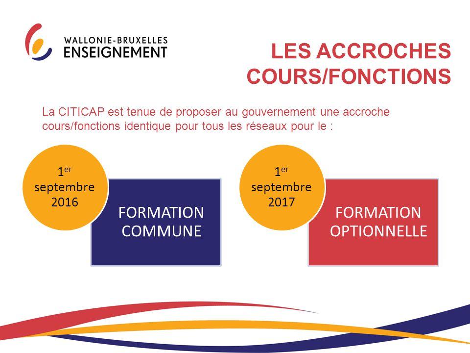 La CITICAP est tenue de proposer au gouvernement une accroche cours/fonctions identique pour tous les réseaux pour le : FORMATION COMMUNE 1 er septemb