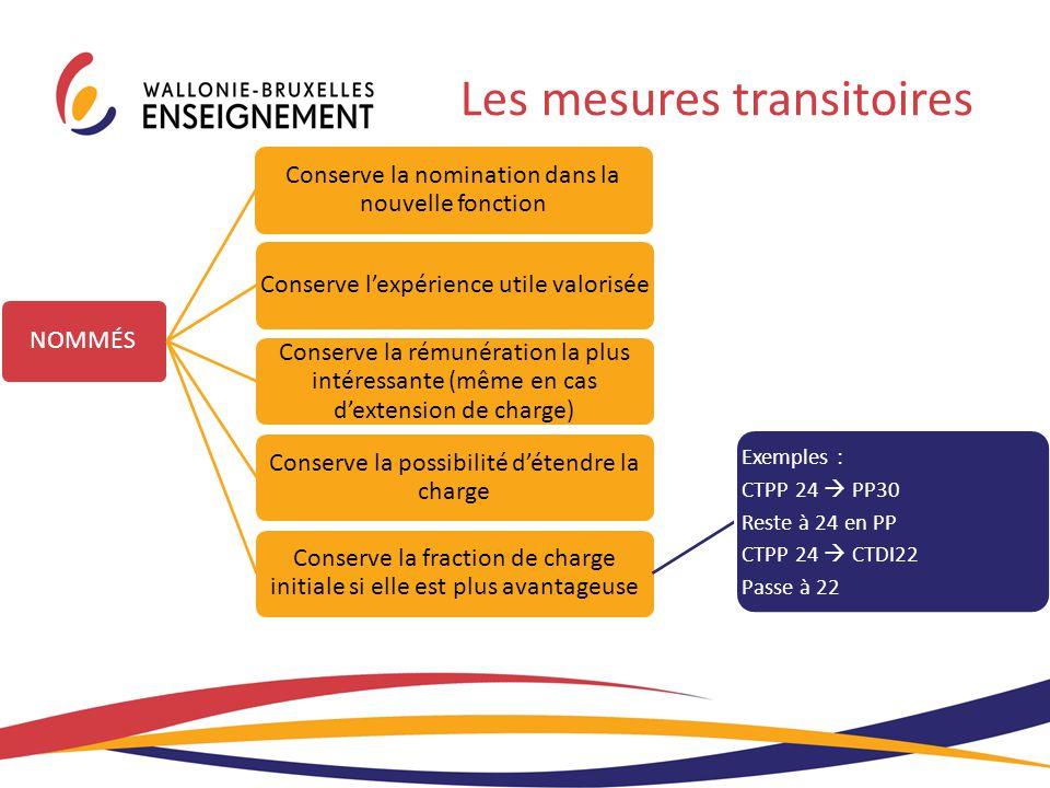 Les mesures transitoires NOMMÉS Conserve la nomination dans la nouvelle fonction Conserve l'expérience utile valorisée Conserve la rémunération la plu