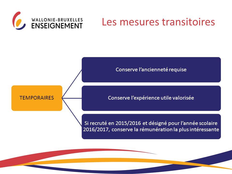 TEMPORAIRES Conserve l'ancienneté requiseConserve l'expérience utile valorisée Si recruté en 2015/2016 et désigné pour l'année scolaire 2016/2017, con