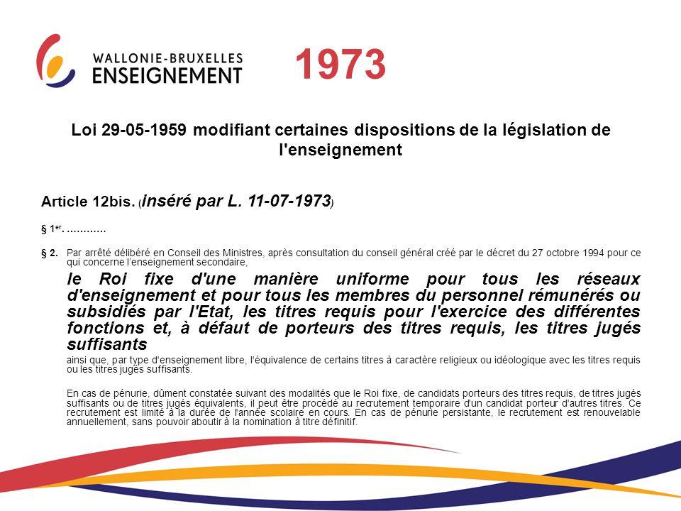 1973 Loi 29-05-1959 modifiant certaines dispositions de la législation de l'enseignement Article 12bis. ( inséré par L. 11-07-1973 ) § 1 er. ………… § 2.