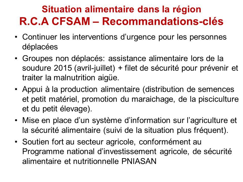 Situation alimentaire dans la région R.C.A CFSAM – Recommandations-clés Continuer les interventions d'urgence pour les personnes déplacées Groupes non déplacés: assistance alimentaire lors de la soudure 2015 (avril-juillet) + filet de sécurité pour prévenir et traiter la malnutrition aigüe.