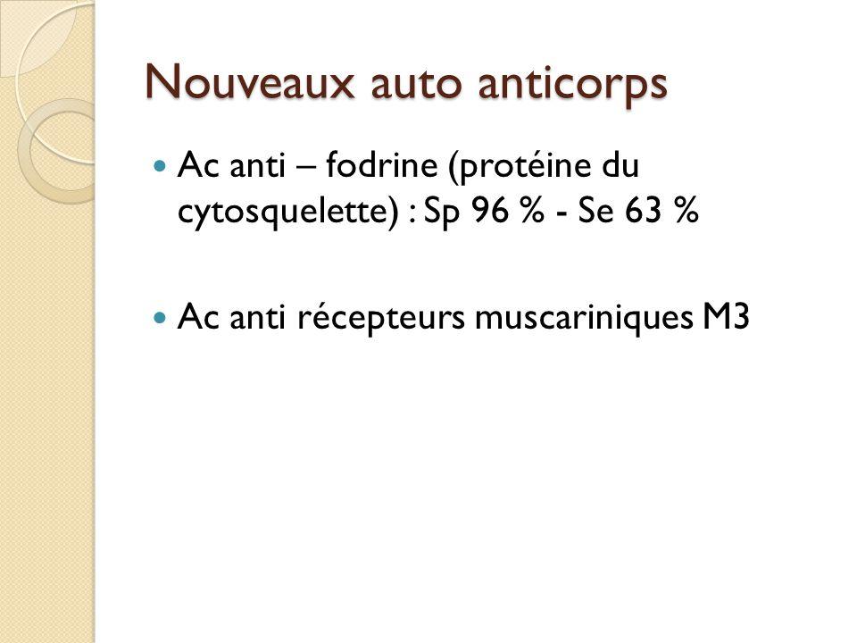 Nouveaux auto anticorps Ac anti – fodrine (protéine du cytosquelette) : Sp 96 % - Se 63 % Ac anti récepteurs muscariniques M3