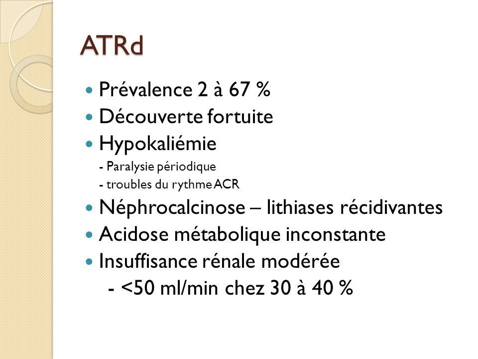 ATRd Prévalence 2 à 67 % Découverte fortuite Hypokaliémie - Paralysie périodique - troubles du rythme ACR Néphrocalcinose – lithiases récidivantes Acidose métabolique inconstante Insuffisance rénale modérée - <50 ml/min chez 30 à 40 %