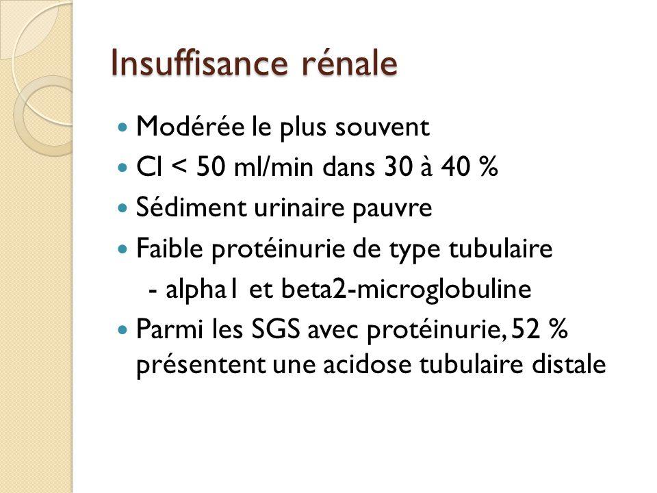 Insuffisance rénale Modérée le plus souvent Cl < 50 ml/min dans 30 à 40 % Sédiment urinaire pauvre Faible protéinurie de type tubulaire - alpha1 et beta2-microglobuline Parmi les SGS avec protéinurie, 52 % présentent une acidose tubulaire distale