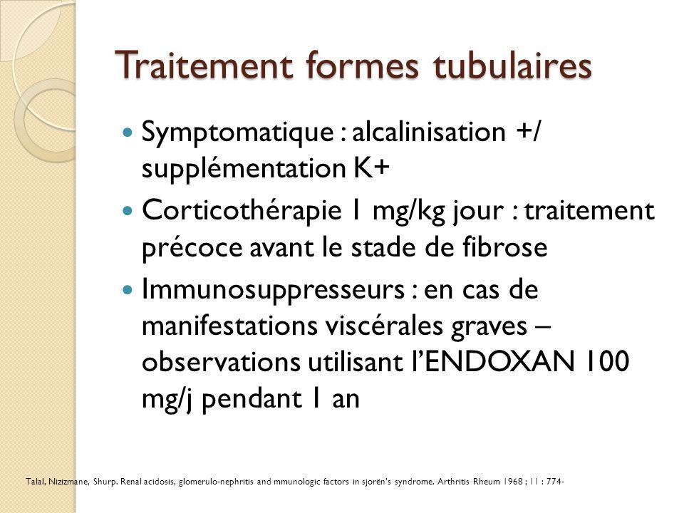 Traitement formes tubulaires Symptomatique : alcalinisation +/ supplémentation K+ Corticothérapie 1 mg/kg jour : traitement précoce avant le stade de fibrose Immunosuppresseurs : en cas de manifestations viscérales graves – observations utilisant l'ENDOXAN 100 mg/j pendant 1 an Talal, Nizizmane, Shurp.