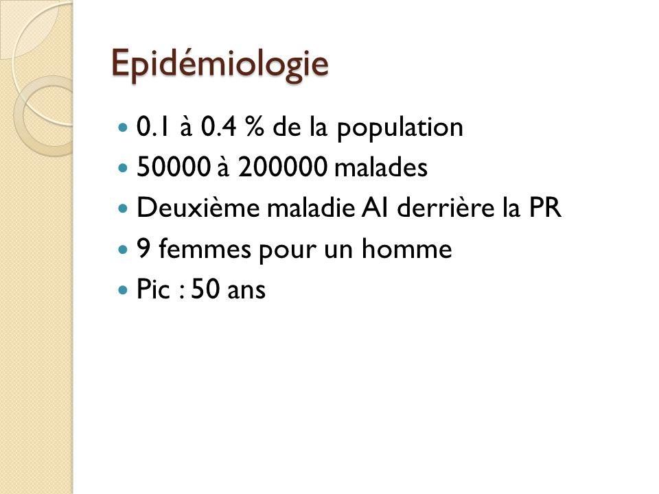 Epidémiologie 0.1 à 0.4 % de la population 50000 à 200000 malades Deuxième maladie AI derrière la PR 9 femmes pour un homme Pic : 50 ans