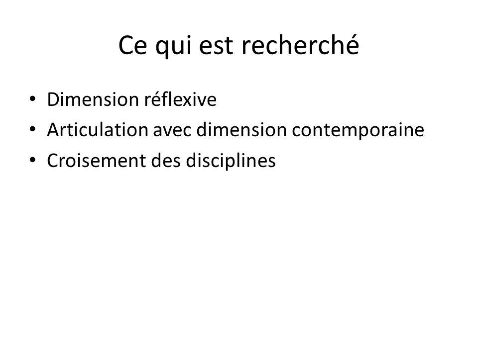 Ce qui est recherché Dimension réflexive Articulation avec dimension contemporaine Croisement des disciplines