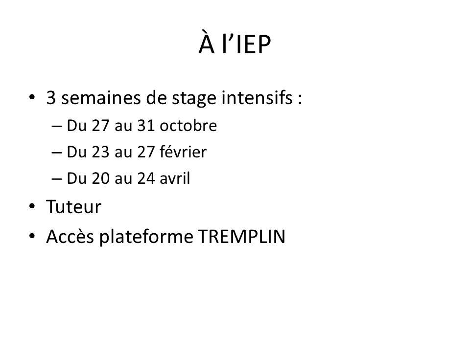 À l'IEP 3 semaines de stage intensifs : – Du 27 au 31 octobre – Du 23 au 27 février – Du 20 au 24 avril Tuteur Accès plateforme TREMPLIN