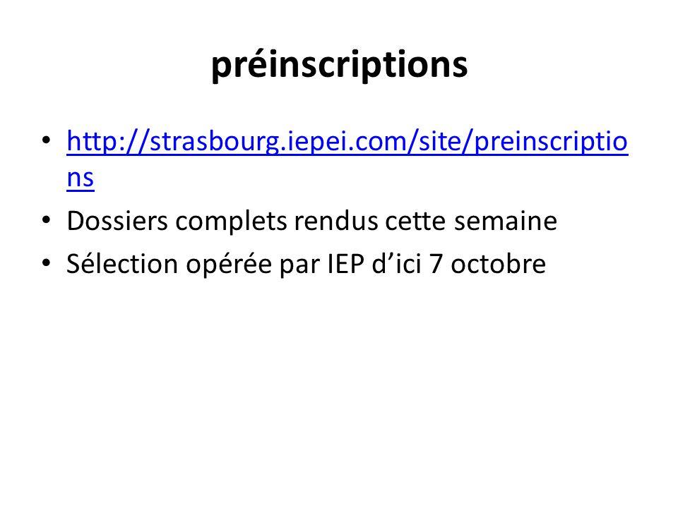 préinscriptions http://strasbourg.iepei.com/site/preinscriptio ns http://strasbourg.iepei.com/site/preinscriptio ns Dossiers complets rendus cette semaine Sélection opérée par IEP d'ici 7 octobre