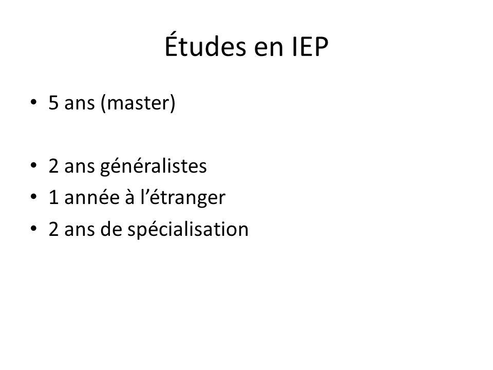 Études en IEP 5 ans (master) 2 ans généralistes 1 année à l'étranger 2 ans de spécialisation