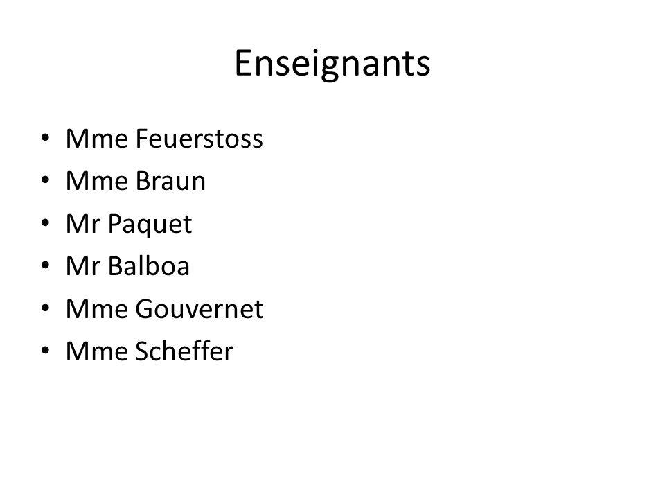 Enseignants Mme Feuerstoss Mme Braun Mr Paquet Mr Balboa Mme Gouvernet Mme Scheffer