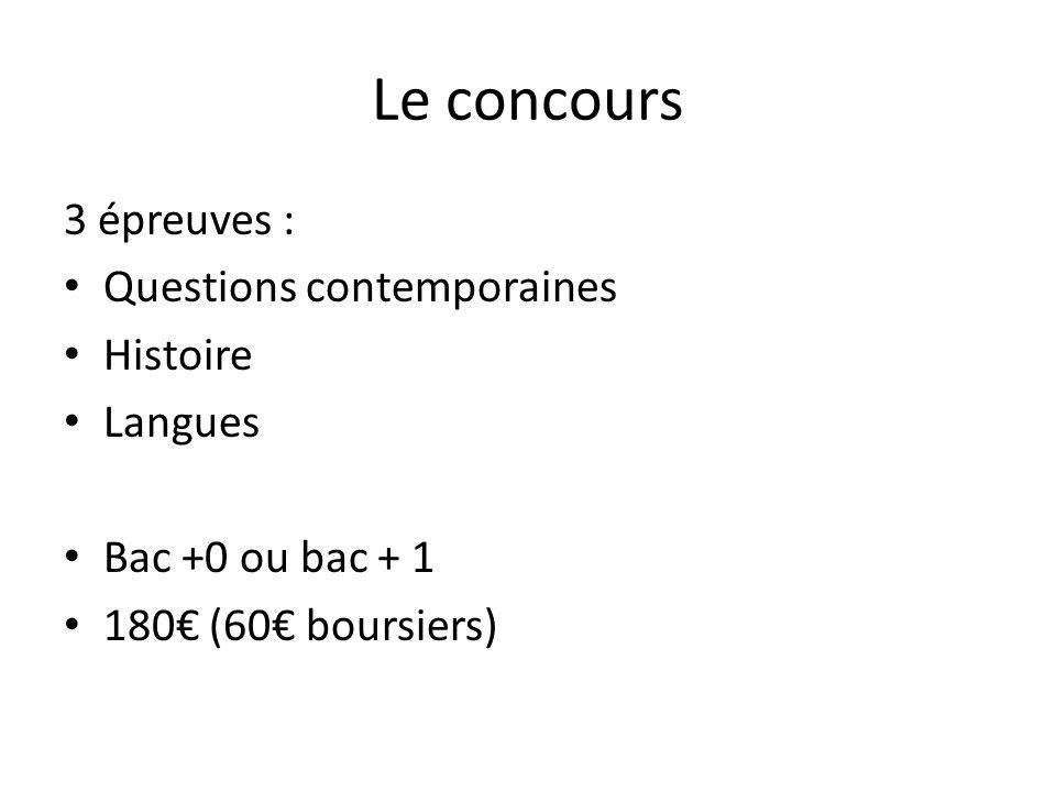 Le concours 3 épreuves : Questions contemporaines Histoire Langues Bac +0 ou bac + 1 180€ (60€ boursiers)