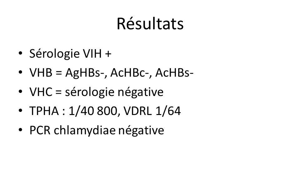 Résultats Sérologie VIH + VHB = AgHBs-, AcHBc-, AcHBs- VHC = sérologie négative TPHA : 1/40 800, VDRL 1/64 PCR chlamydiae négative