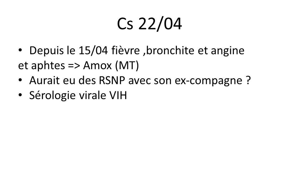Cs 22/04 Depuis le 15/04 fièvre,bronchite et angine et aphtes => Amox (MT) Aurait eu des RSNP avec son ex-compagne ? Sérologie virale VIH