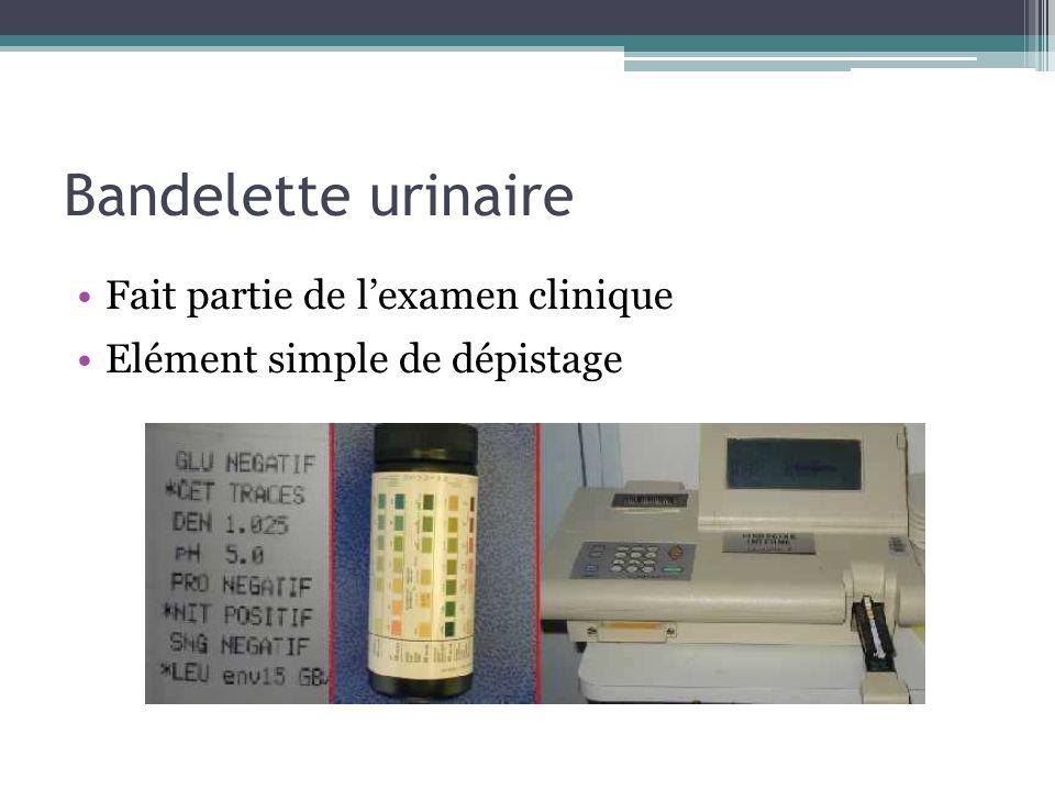 Bandelette urinaire Fait partie de l'examen clinique Elément simple de dépistage