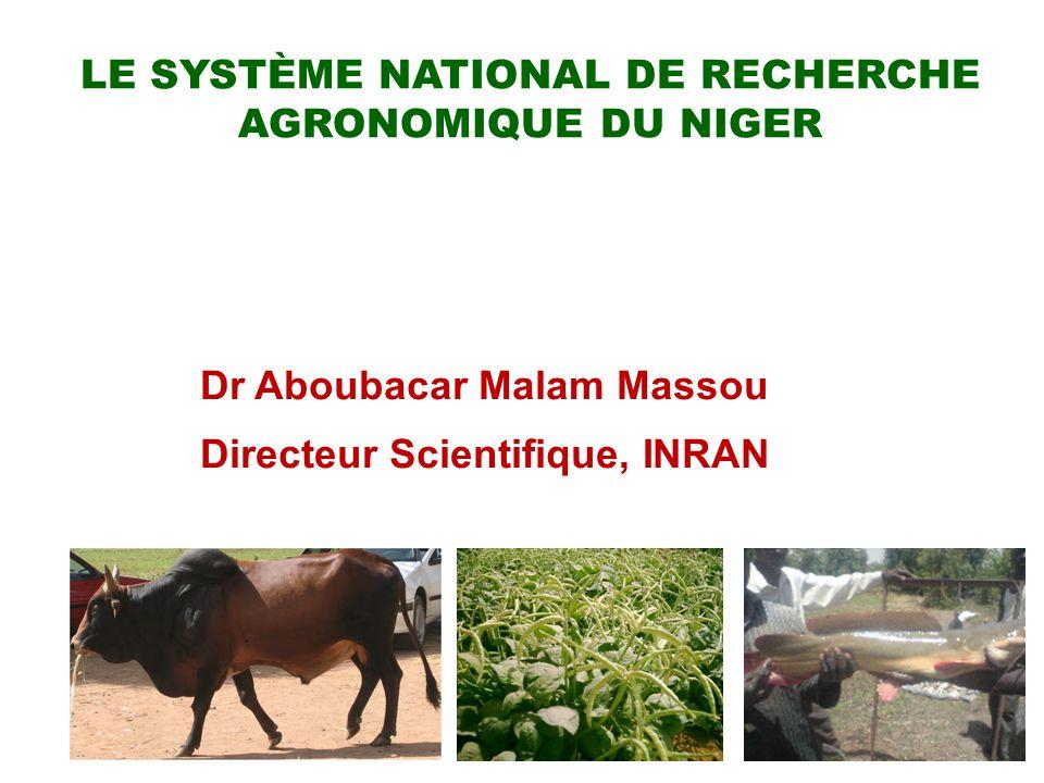 1 LE SYSTÈME NATIONAL DE RECHERCHE AGRONOMIQUE DU NIGER Dr Aboubacar Malam Massou Directeur Scientifique, INRAN