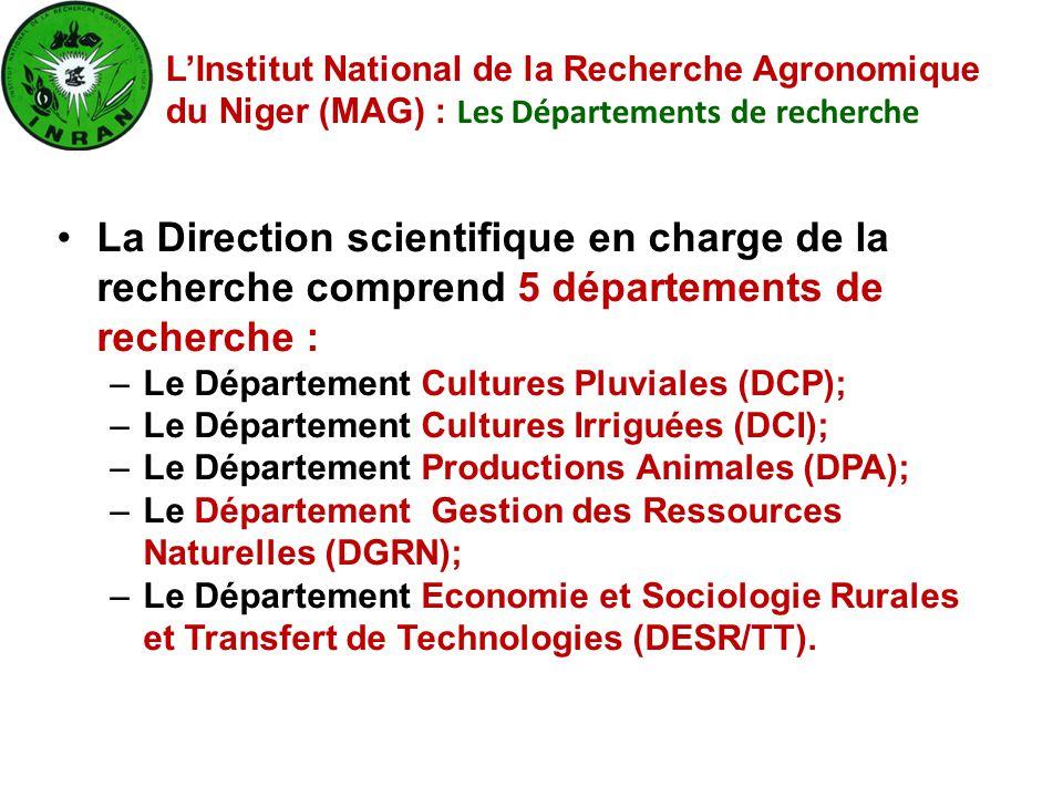 La Direction scientifique en charge de la recherche comprend 5 départements de recherche : –Le Département Cultures Pluviales (DCP); –Le Département C