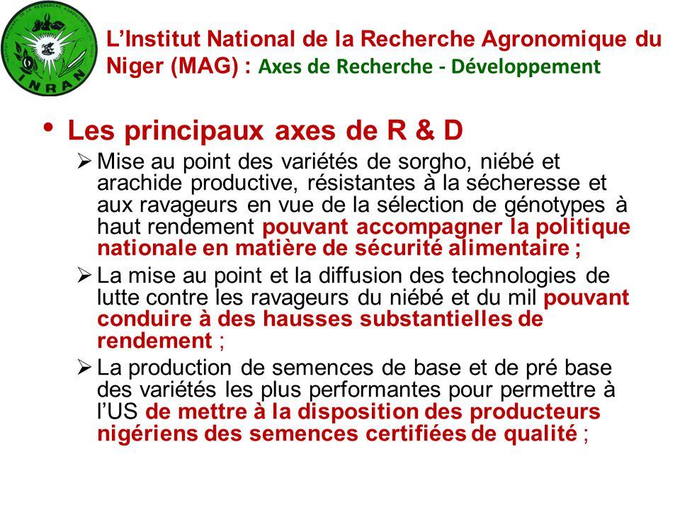 Les principaux axes de R & D  Mise au point des variétés de sorgho, niébé et arachide productive, résistantes à la sécheresse et aux ravageurs en vue