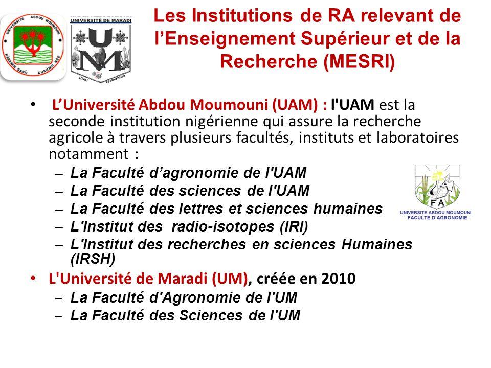 Les Institutions de RA relevant de l'Enseignement Supérieur et de la Recherche (MESRI) L'Université Abdou Moumouni (UAM) : l'UAM est la seconde instit