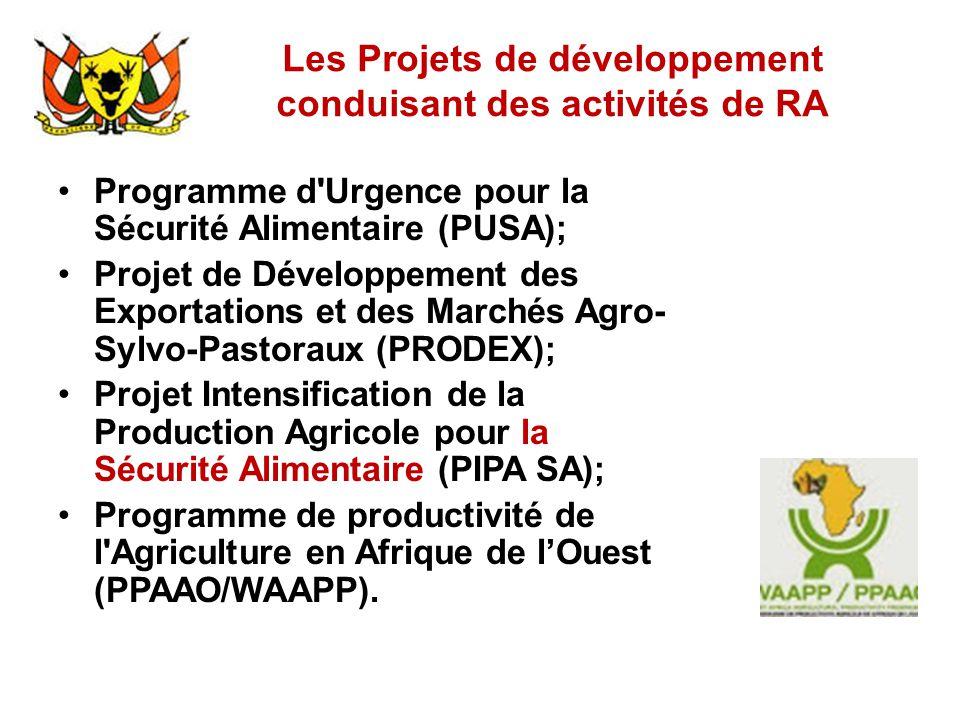Les Projets de développement conduisant des activités de RA Programme d'Urgence pour la Sécurité Alimentaire (PUSA); Projet de Développement des Expor