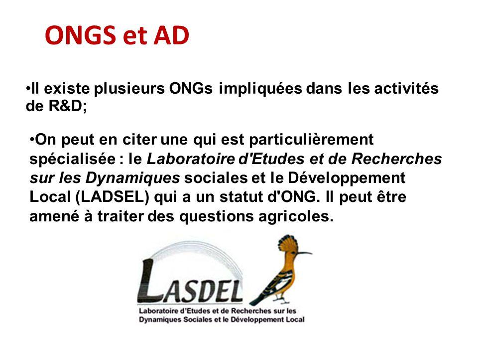 ONGS et AD On peut en citer une qui est particulièrement spécialisée : le Laboratoire d'Etudes et de Recherches sur les Dynamiques sociales et le Déve