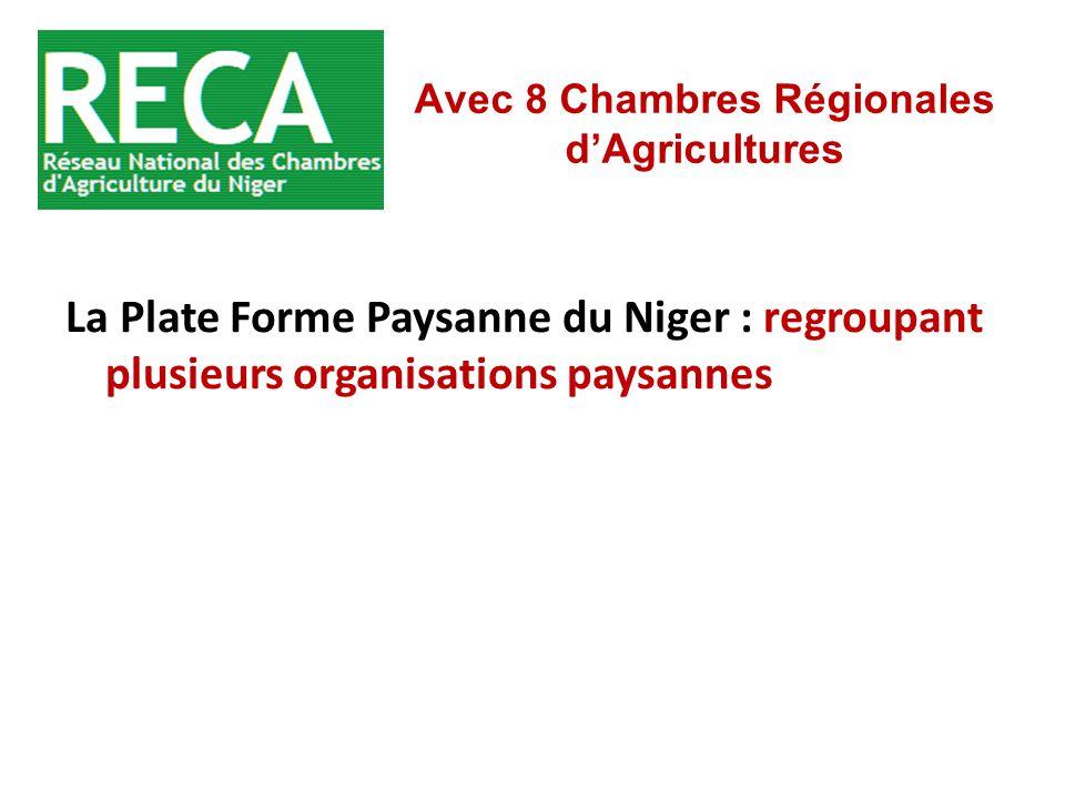 La Plate Forme Paysanne du Niger : regroupant plusieurs organisations paysannes Avec 8 Chambres Régionales d'Agricultures