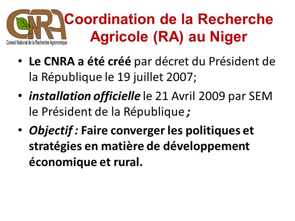 Coordination de la Recherche Agricole (RA) au Niger Le CNRA a été créé par décret du Président de la République le 19 juillet 2007; installation offic