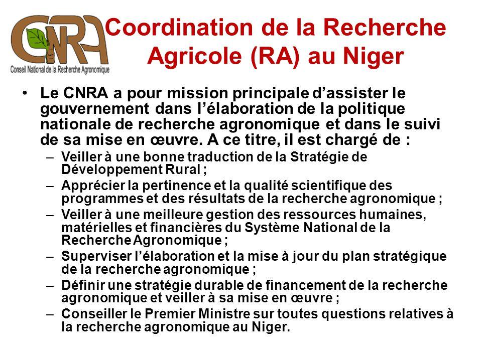 Le CNRA a pour mission principale d'assister le gouvernement dans l'élaboration de la politique nationale de recherche agronomique et dans le suivi de