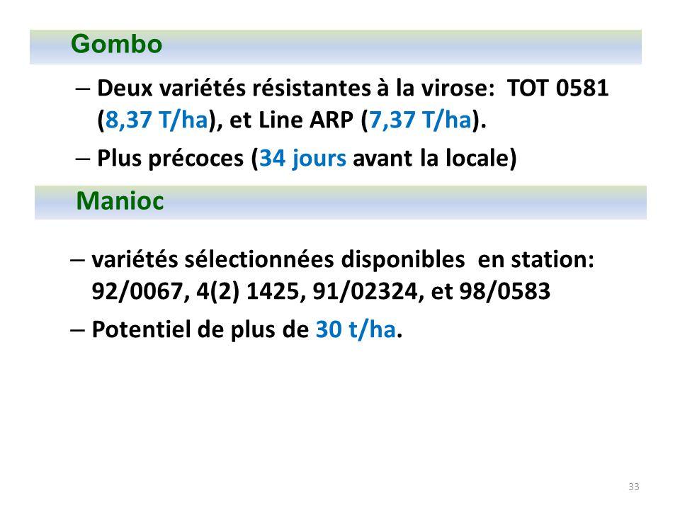 33 – variétés sélectionnées disponibles en station: 92/0067, 4(2) 1425, 91/02324, et 98/0583 – Potentiel de plus de 30 t/ha. – Deux variétés résistant
