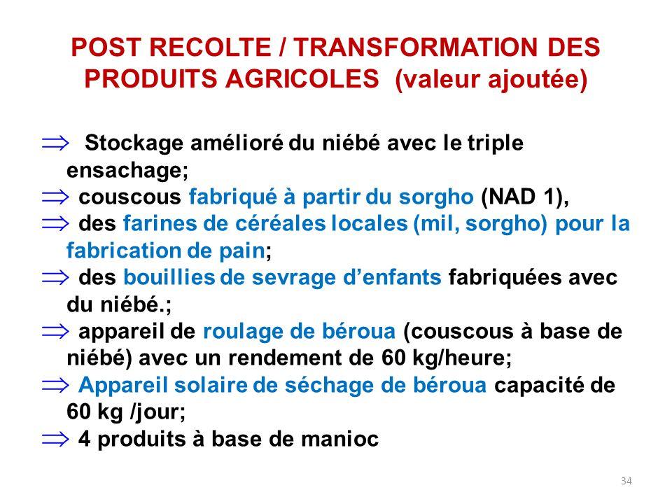 34 POST RECOLTE / TRANSFORMATION DES PRODUITS AGRICOLES (valeur ajoutée)  Stockage amélioré du niébé avec le triple ensachage;  couscous fabriqué à