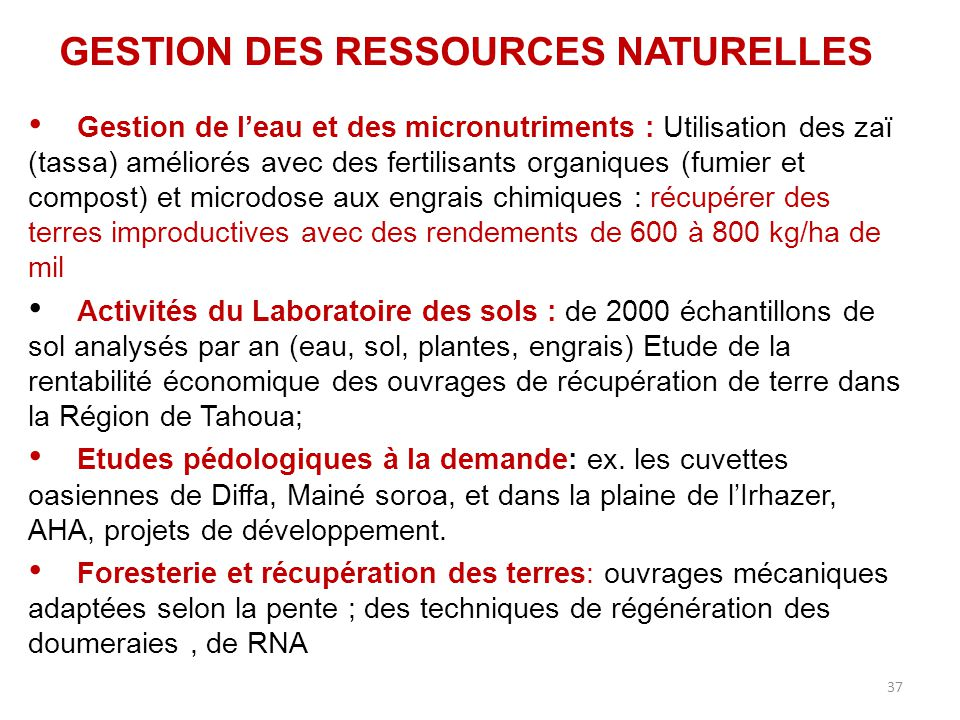 37 GESTION DES RESSOURCES NATURELLES Gestion de l'eau et des micronutriments : Utilisation des zaï (tassa) améliorés avec des fertilisants organiques
